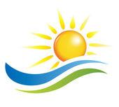 Illustratie van zonsondergang met strand van het eiland en de zee — Stockvector