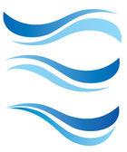 Agua olas diseño conjunto de elementos — Vector de stock
