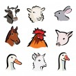 Farm animals, set of vector icons — Stock Vector