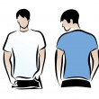 T-shirt men back and front. Men body silhouette. — Stock Vector