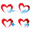 Set of hearts icons, medicine concept - Imagen vectorial
