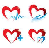 Set of hearts icons, medicine concept — Stock Vector