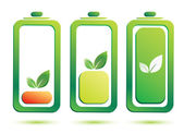 Eco battery charge level, vector icons — Stock Vector