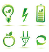 Green energy icons — Stock Vector