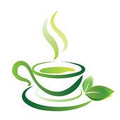 Vector sketch of green tea cup, icon — Stock Vector