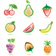 Green fruits icons set — Stock Vector
