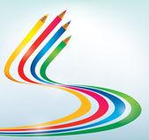 Fondo de arte abstracto de líneas con colores del arco iris — Vector de stock