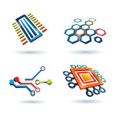 Micro scheme, cpu and other elements icons set — Stock Vector