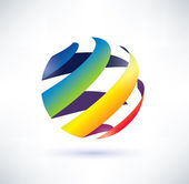 Abstract rainbow globe icon — Stock Vector
