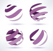 Abstract globe set of 3d icons — Stock Vector