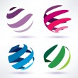 Stock Vector: Set of 3d abstract globe icons