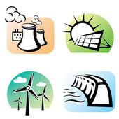 Power plants set, energy concept — Stock Vector
