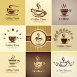 Cafe emblem collection, set of coffee cups icons — ベクター素材ストック