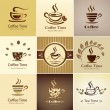 Cafe emblem collection, set of coffee cups icons — Vektorgrafik