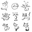 Hand drawn cats vector icons collection — Stock Vector