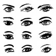 Hand drawn eyes collection — 图库矢量图片