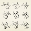 Hand drawn grumpy cats vector icons collection — Stock Vector