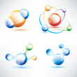 Molecule structure, abstract glossy icons set, science and energ — Stock Vector