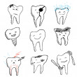 Hand drawn funny teeth, vector icons collection — Stock Vector