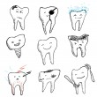 Hand drawn funny teeth, vector icons collection — Stock Vector #34683927
