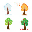 All season tree, vector icons set — Stock Vector