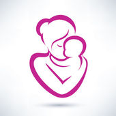 Mom and baby vector icon — Stock Vector