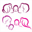 Happy family silhouette, vector symbols collection — Stock Vector
