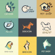 Pets vector icons collection — Stock Vector