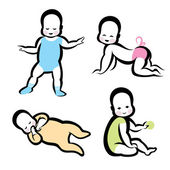 Cheerful active baby vector symbols collection — Wektor stockowy