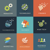 Business and technology vector icons set — Stock Vector