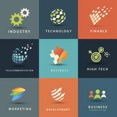 ビジネスと技術のベクトル アイコンを設定 — ストックベクタ