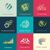 Abstract business and technology vector icons set — Stock Vector
