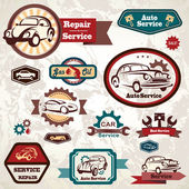 Car service retro emblem, collection of vintage vector labels — Stock Vector