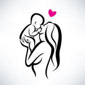 Öpüşme onu çocuk, izole vektör simge anne — Stok Vektör