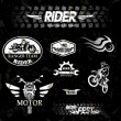 Motorcycle vintage labels, set of emblems — Vector de stock