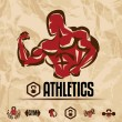 Athletics, gym labels collection, vintage fitness emblems — Stock Vector #43616361