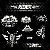 Motorcycle vintage labels, set of emblems — Vettoriale Stock
