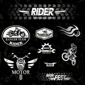 Motorcycle vintage labels, set of emblems — Stock Vector