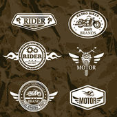Motorcycle vintage labels, set of emblems — Stock Vector
