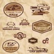 Racing cars vintage labels — Stock Vector