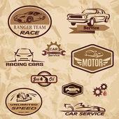 Wyścigi samochodów zabytkowych etykiety — Wektor stockowy