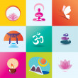 Yoga, spa, meditation and oriental concept, set of icons — Stock Vector