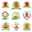 Farm food, agriculture icons, labels collection — Stock Vector #48038539