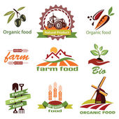 Farm, agriculture icons, labels collection — ストックベクタ