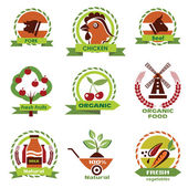 Farm food, agriculture icons, labels collection — ストックベクタ