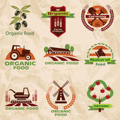 Farm, agriculture icons, labels collection — Vettoriale Stock