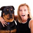 Me, excited! Dog...not so much. — Stock Photo