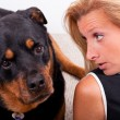 Talking to the Dog — Stock Photo