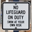 No Lifeguard on Duty Sign — Stock Photo