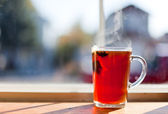 Hot Tea by Window — Stock Photo